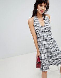 Read more about Resume flica asymmetric shoulder checked dress - 999 black