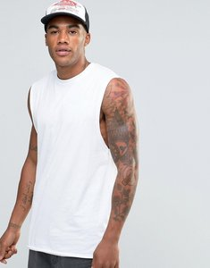 Read more about Asos longline sleeveless t-shirt with dropped armhole - white
