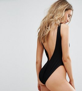 Read more about Missguided ribbed low back swimsuit - black