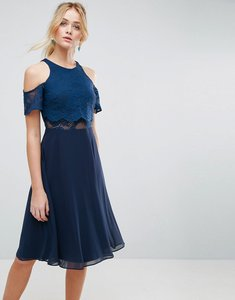 Read more about Asos lace cold shoulder crop top skater midi dress - navy