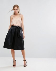 Read more about Closet pleated side bow tie skirt - black