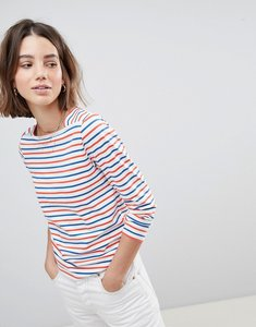 Read more about People tree organic fairtrade cotton long sleeve t-shirt in breton stripe - white multi stripe
