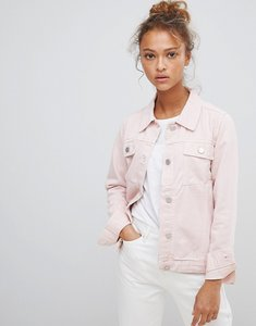 Read more about Waven lana pink denim jacket with wolf embroidery - blush pink
