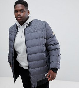 Read more about Duke plus quilted bomber jacket in charcoal - charcoal