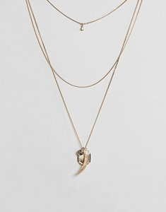 Read more about Asos coin charm multirow necklace - gold