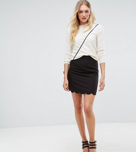 Read more about Asos tall tailored a-line mini skirt with scallop hem - black