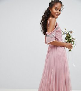 Read more about Maya tall cold shoulder sequin detail tulle maxi dress with ruffle detail - vintage rose