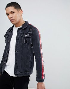 Read more about Liquor n poker black denim jacket with side stripes and rip and repair - black