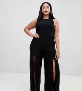 Read more about Fashionkilla plus high neck jumpsuit with front thigh split in black
