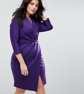 Read more about Closet plus wrap front pleated pencil dress - purple