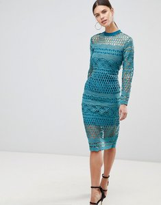 Read more about Forever unique lace bodycon dress - teal