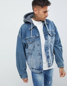 Read more about Asos design oversized denim jacket with jersey hood in mid wash - mid wash
