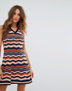 Read more about M missoni multi wool mix knit ziz zag a line dress - af6 orange multi