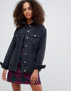 Read more about Asos design denim girlfriend jacket in washed black - black