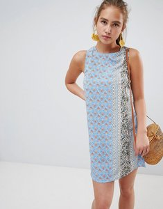 Read more about Glamorous printed shift dress with tie back - blue rust bor