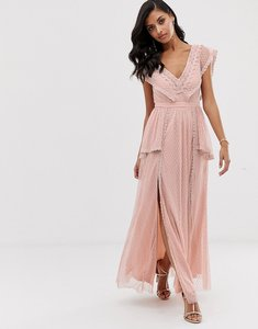 Read more about Lace beads maxi dress in taupe