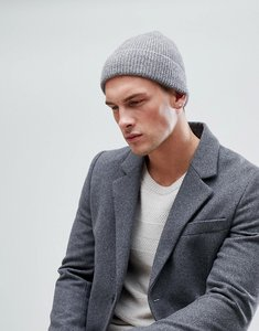 Read more about Asos fisherman beanie in brushed grey - grey