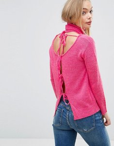 Read more about Glamorous cut out jumper with open back - hot pink