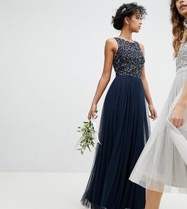 Read more about Maya sleeveless sequin bodice tulle detail maxi bridesmaid dress with cutout back - navy