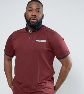 Read more about Duke plus polo shirt with contrast collar in burgundy marl - burgundy