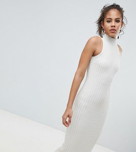Read more about Asos design tall knitted midi dress in skinny rib - oatmeal