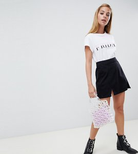 Read more about Asos design petite denim mini skirt in washed black with split detail - washed black