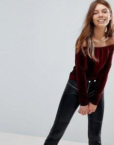 Read more about Bershka velvet bardot top - red