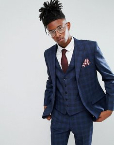 Read more about Rudie blue prince of wales check skinny fit suit jacket - blue