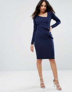 Read more about City goddess long sleeve pencil dress with ruched detail - navy