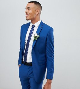 Read more about Farah skinny fit suit jacket in blue - regatta blue