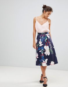 Read more about Closet london full bloom printed midi skirt - multi