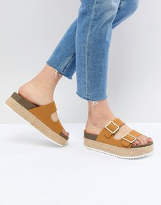 Read more about Pull bear flatform double buckle sandal in tan - tan