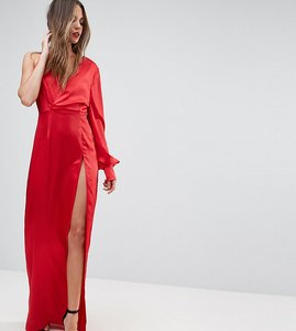 Read more about Ttya black one shoulder maxi dress with high thigh split - cherry red