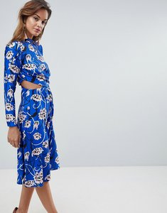 Read more about Asos bright floral high neck cut out midi dress - multi