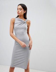 Read more about Asos design twist detail pencil dress - grey marl