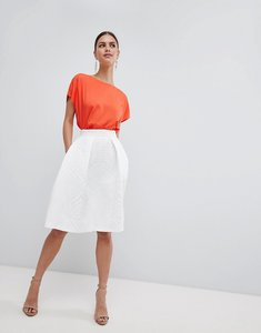 Read more about Closet london textured midi skirt - cream