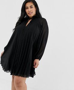 Read more about Asos design curve pleated trapeze mini dress with tie neck