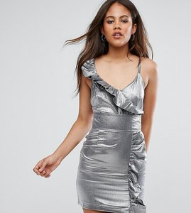 Read more about Asos tall night silver 80s ruffle mini dress - silver