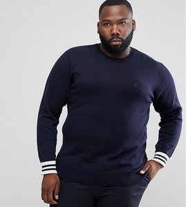 Read more about French connection plus crew neck knitted jumper with contrast cuff - navy