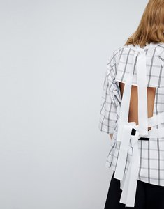 Read more about Asos white open back top in grid print - multi