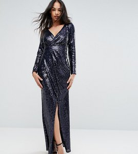 Read more about Tfnc wrap over sequin maxi dress - navy