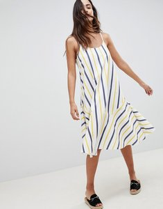 Read more about Asos design stripe swing trapeze midi sundress with lace up back - multi