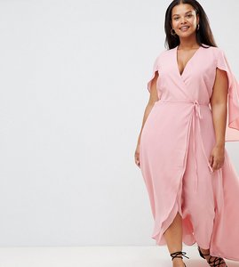 Read more about Alice you plus frill wrap maxi dress - light pink