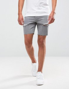 Read more about Asos denim shorts in skinny grey with rips - grey