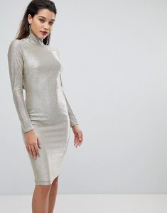 Read more about Flounce london high neck metallic midi dress - silver