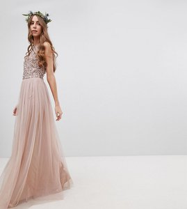 Read more about Maya tall sleeveless sequin bodice tulle detail maxi bridesmaid dress with cutout back - taupe blush
