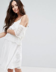 Read more about Pimkie cold shoulder crochet detail cami dress - white