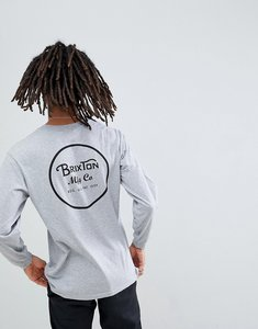 Read more about Brixton wheeler long sleeve t-shirt with back print in grey - grey