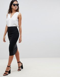 Read more about Asos design high waisted longerline pencil skirt - black