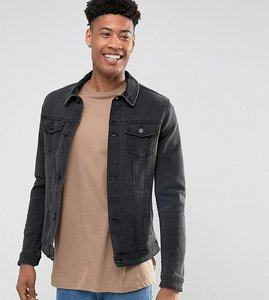 Read more about Asos tall denim jacket in skinny fit in black with cord collar - black
